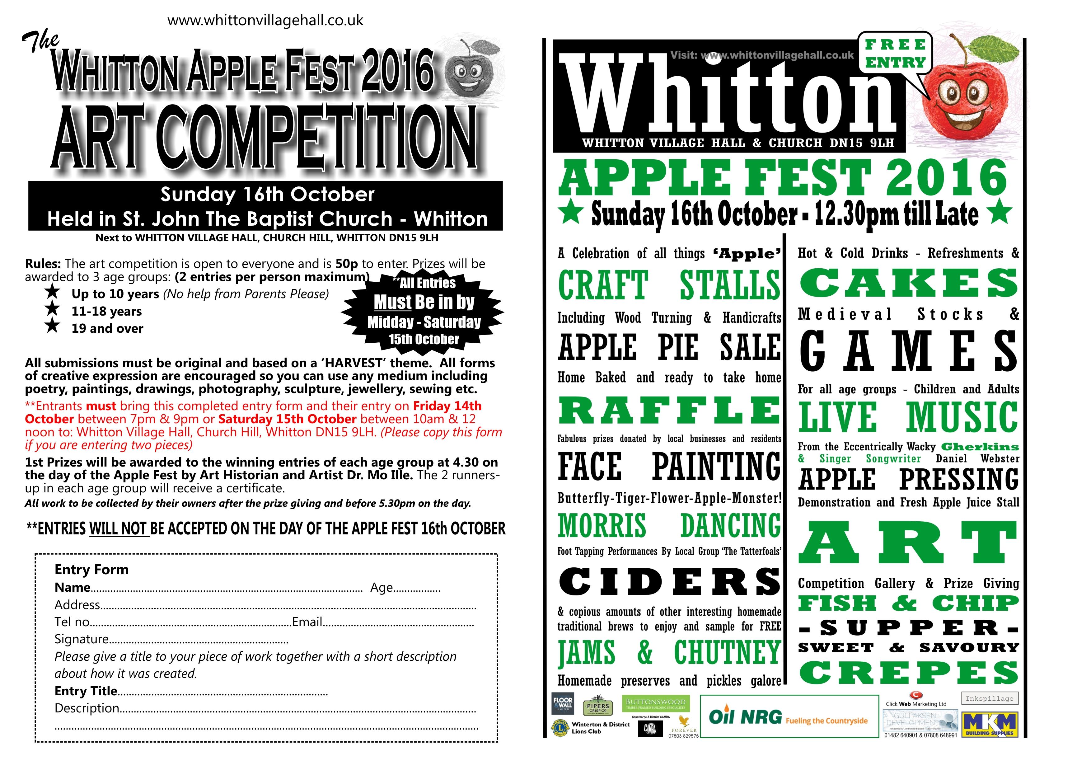 Whitton Apple Fest Art Competition Form